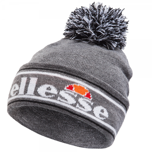 Ellesse Ellesse Logo Monza Bobble Beanie Hat Grey - Ellesse from ... 0cce3ef1f32