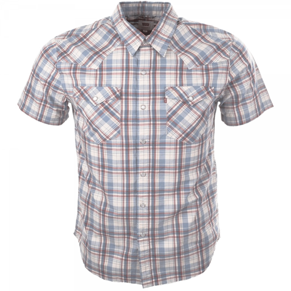 e174c02e5f Levi s Levi s Barstow Western Short Sleeve Check Shirt Blue 65817 ...