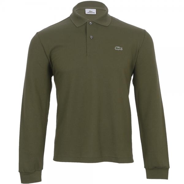 66884d69d Lacoste L1312 Original Plain Long Sleeve Polo Khaki Green - from ...
