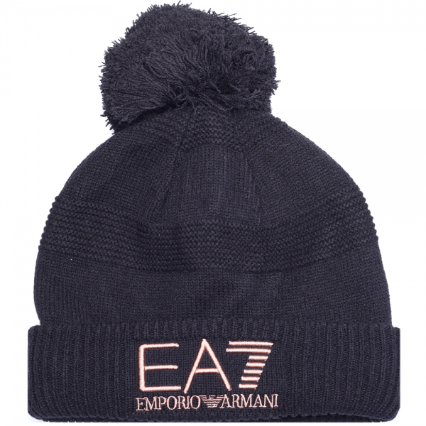 EA7 Emporio Armani EA7 Black Bobble Beanie Hat With Fold Turn-Up ... eaba830dc86