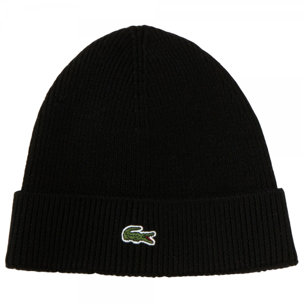 95312fbace2 Lacoste Light Black Beanie Hat With Turn-Up Fold RB3502 - from Club ...