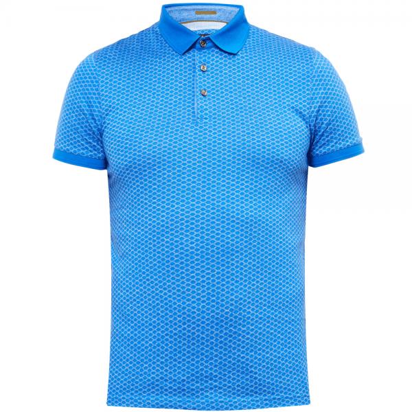 d0eb181daa126 Ted Baker Ted Baker Talford SS Jacquard Printed Polo T-Shirt Blue ...