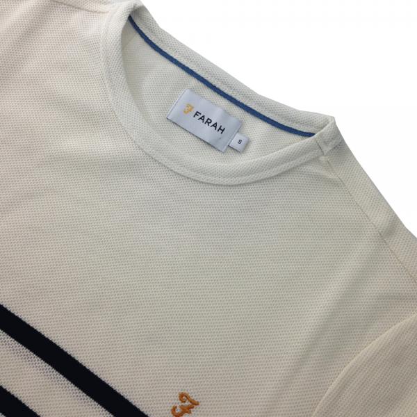 4ecf38971f Farah Farah Hampstead Honeycomb Striped Crew Neck T-Shirt Navy ...