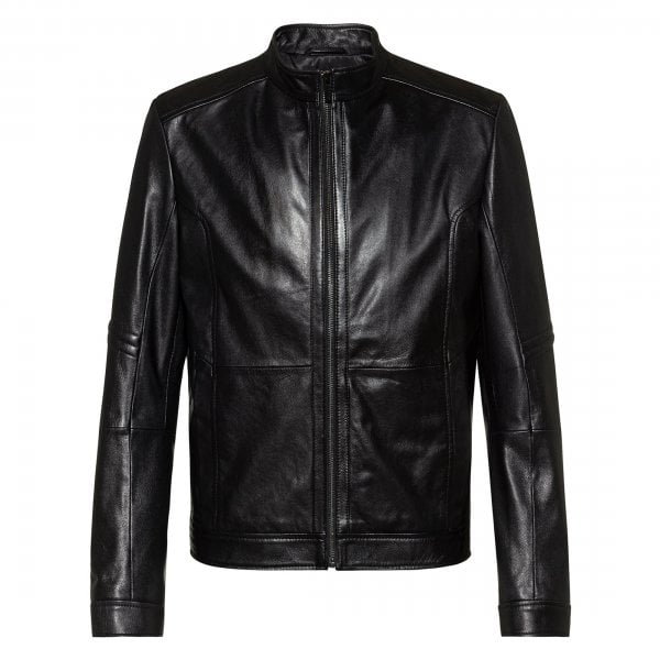 HUGO Hugo Boss Lancel Black Biker Style Leather Jacket ...