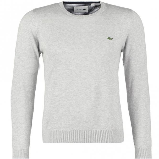212977b9271233 Lacoste Light Grey Fine Knit Cotton Jumper AH7418 - from Club JJ UK