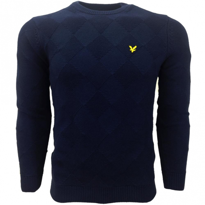 Lyle & Scott Navy Crew Neck Textured Argyle Knit Jumper KN508V