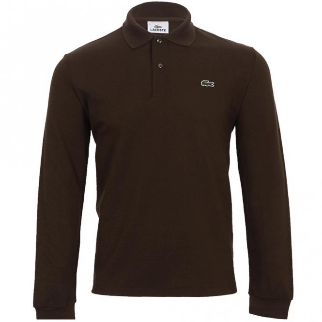 deaf1f038 Lacoste L1312 Original Plain Long Sleeve Polo Brown - from Club JJ UK