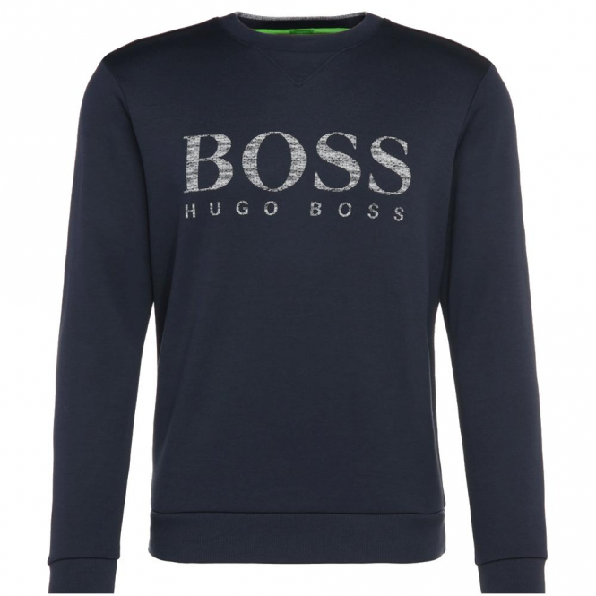 Boss Green Salbo Navy Blue Crew Neck Logo Sweatshirt 50312753 410