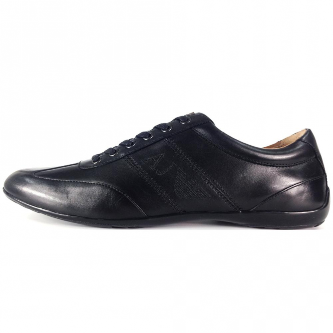 Armani Jeans Black Leather Trainers 935534 CC505