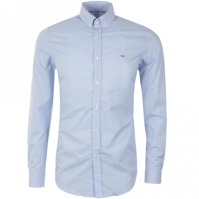 436fe49e2a6ad Lacoste Gingham Check Shirt Long Sleeve Blue CH0222 W05 - from Club JJ UK