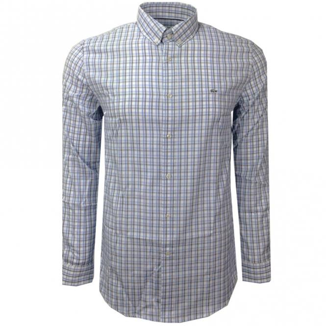 05b5fc14 Lacoste Check Shirt Long Sleeve White Blue CH9847 VLJ