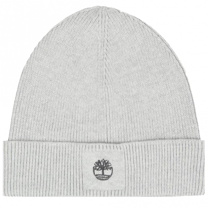 Timberland Grey Cotton Beanie Hat With Turn-up T21275