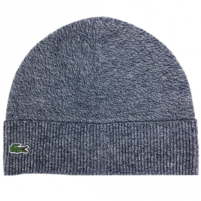 88ae302a Lacoste Navy Marl Beanie Hat With Turn-Up Fold RB5506 - from Club JJ UK