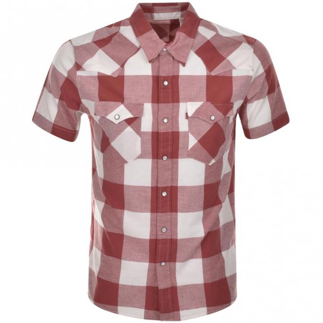 7f38e15d7c Levi  039 s Barstow Western Short Sleeve Dark Red Check Shirt 21978-0030
