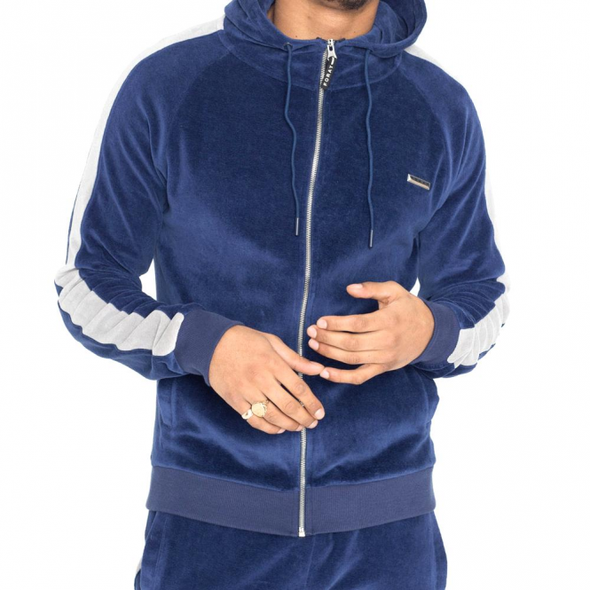 Foray Rise Blue Velour Zip Up Hoody