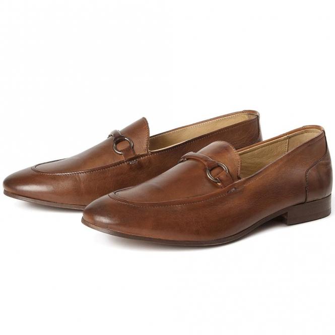 Hudson Renzo Tan Slip On Snaffle Loafer Shoes