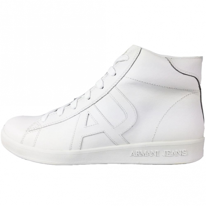 Armani Jeans White Leather Hi-Trainers 935566 CC500