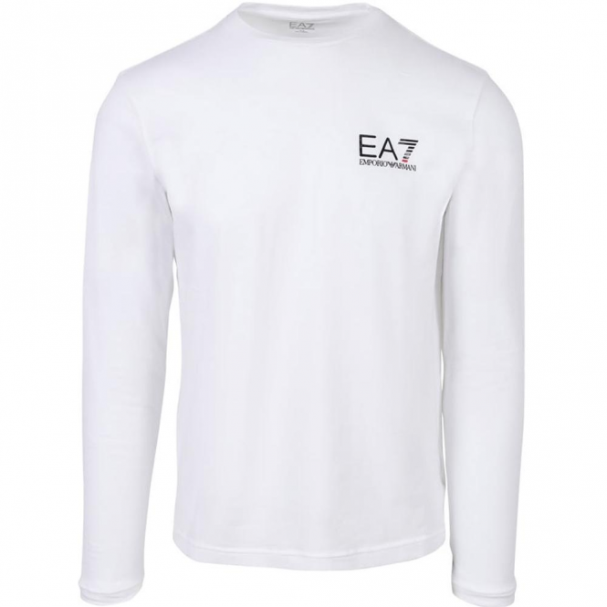 EA7 Emporio Armani Emporio Armani EA7 White Long Sleeve Stretch T-Shirt 3YPT55
