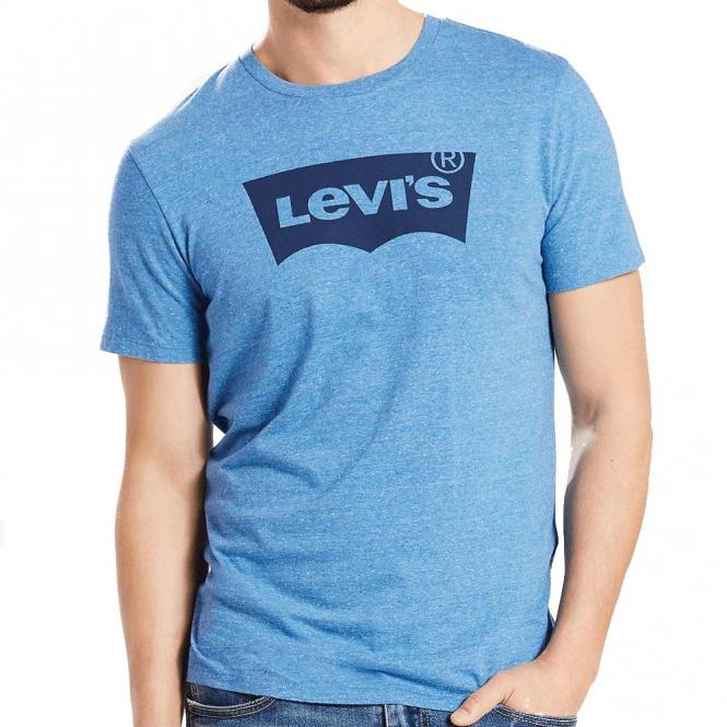 65f758e1400 Levi s Levi s Logo Light Blue Marl Crew Neck T-Shirt 22489 0061 ...