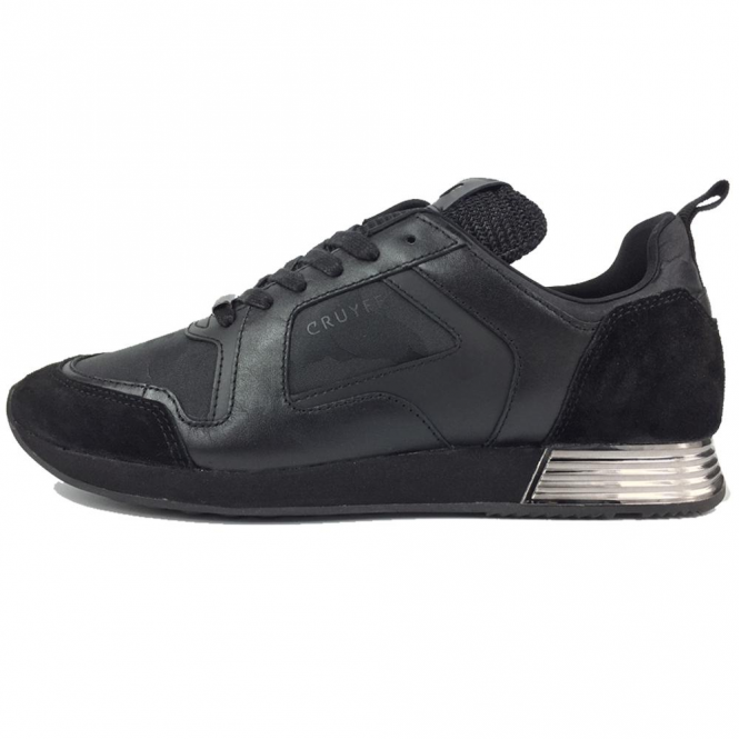 Cruyff Classics Lusso 317 Black Coated Leather Trainers