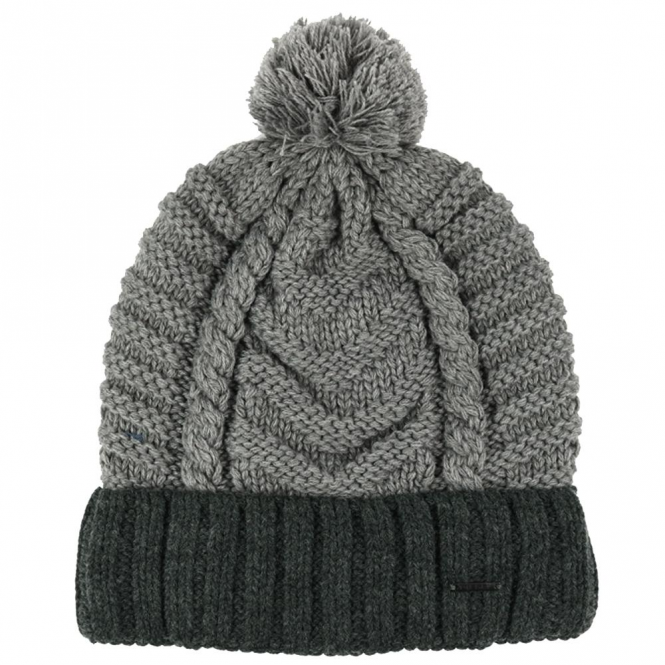 Diesel K-Teen Grey Bobble Beanie Hat With Turn-Up