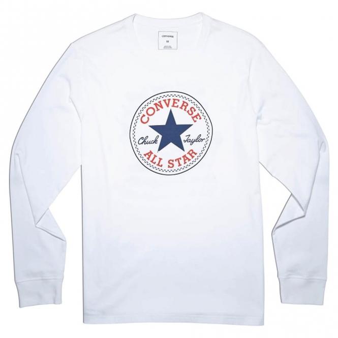 bbe90df379c4 Converse Converse All Star Big Logo Long Sleeve Cuffed T-Shirt White ...