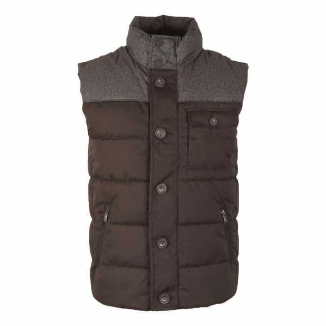 Superdry Tech Tweed Quilted Black/Grey Gilet 02A