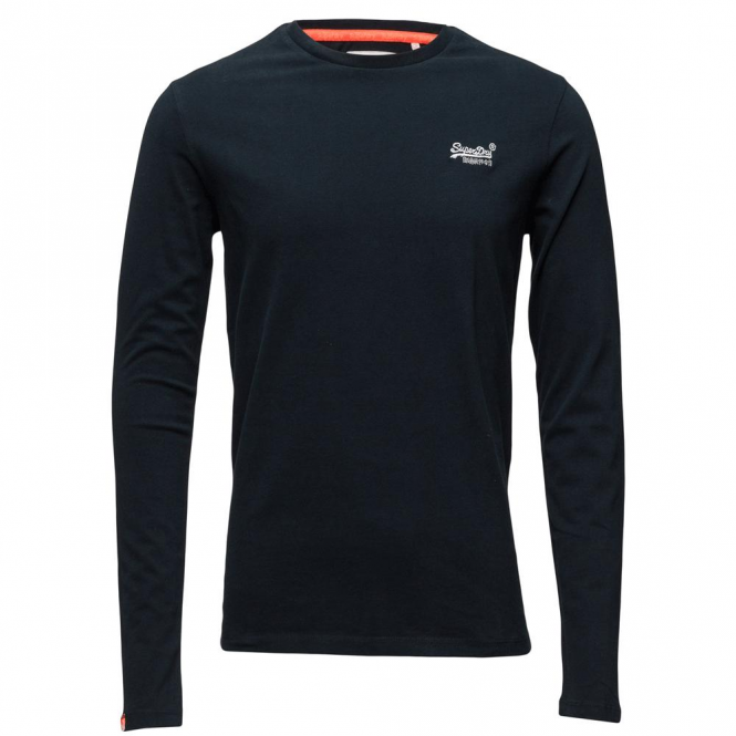 Superdry Orange Label L/S Vintage Emb Navy T-Shirt 98T