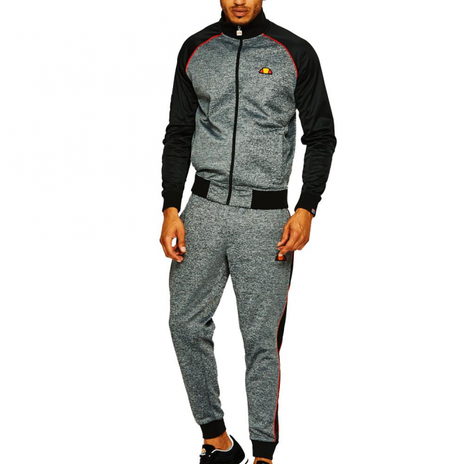 3ed400d1 Ellesse Ellesse Jetter Dark Grey Marl Zip Up Poly Tracksuit
