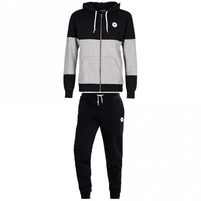 bc3a28188ccc Converse All Star Print Logo Black Mix Zip-Up Hoody Full Tracksuit 10004628