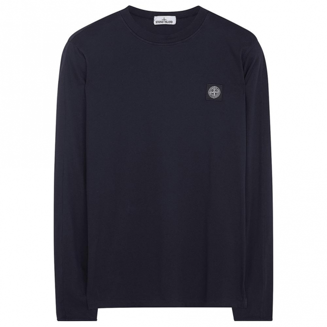 Stone Island Logo Plain Long Sleeve T-shirt Dark Blue V0028 20541