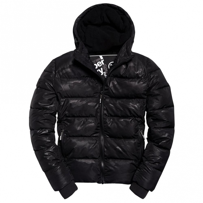 Superdry Sports Puffer Jacket Black Camo Print EX4