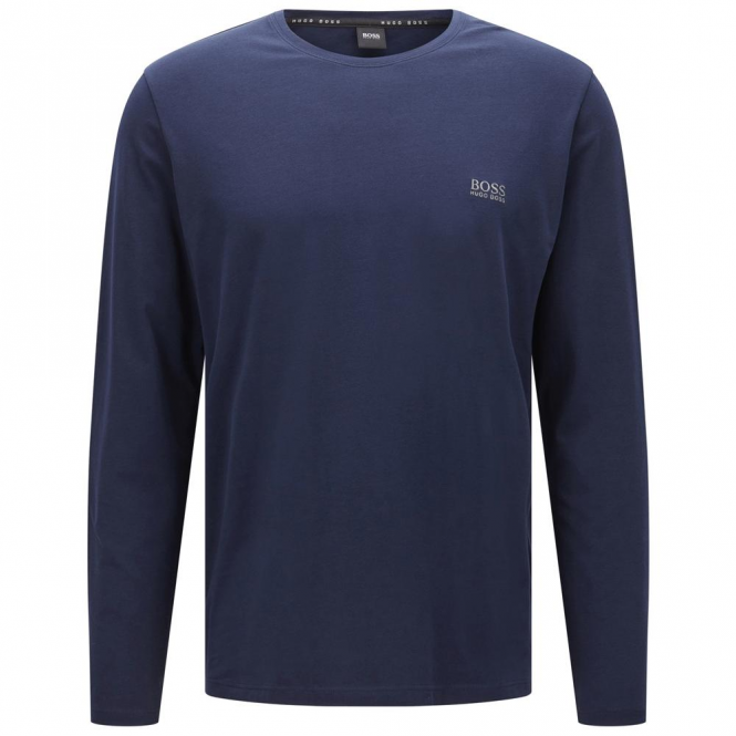 Hugo Boss Boss Black Plain Crew Neck Long Sleeve T-Shirt Navy 404 50326806