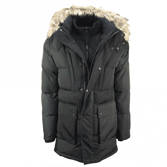 Superdry SD Expedition Parka Coat Black 02A