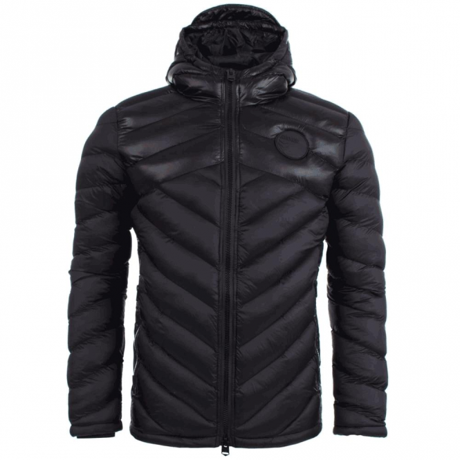 4bidden Adrenaline Black Quilted Hooded Puffer Jacket