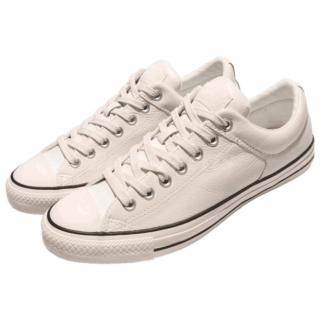 dd9db483cf82 Converse Footwear Converse All Star Egret Cream Leather Ox Trainers ...