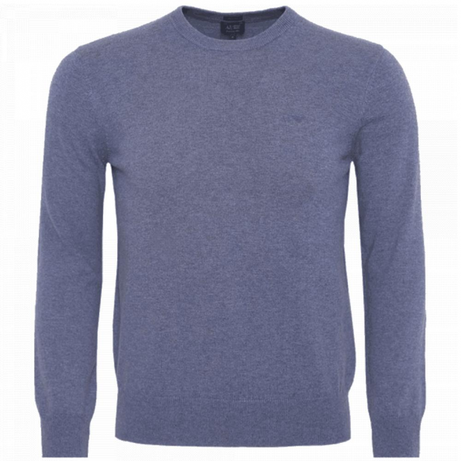 Armani Jeans Crew Neck Jumper Light Blue 8N6M76 6M29Z
