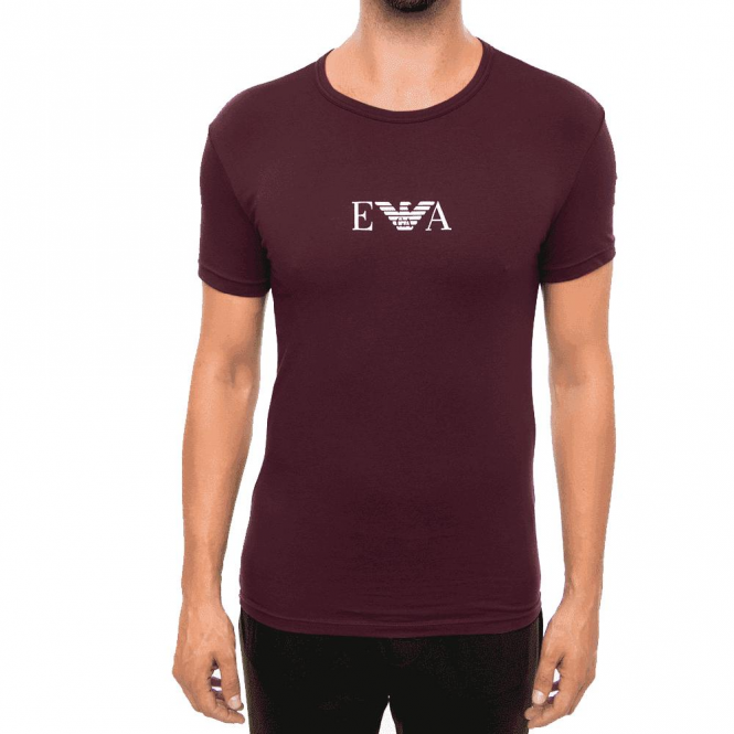 e4ca89ca EA7 Emporio Armani Emporio Armani Logo Stretch T-Shirt Aubergine ...