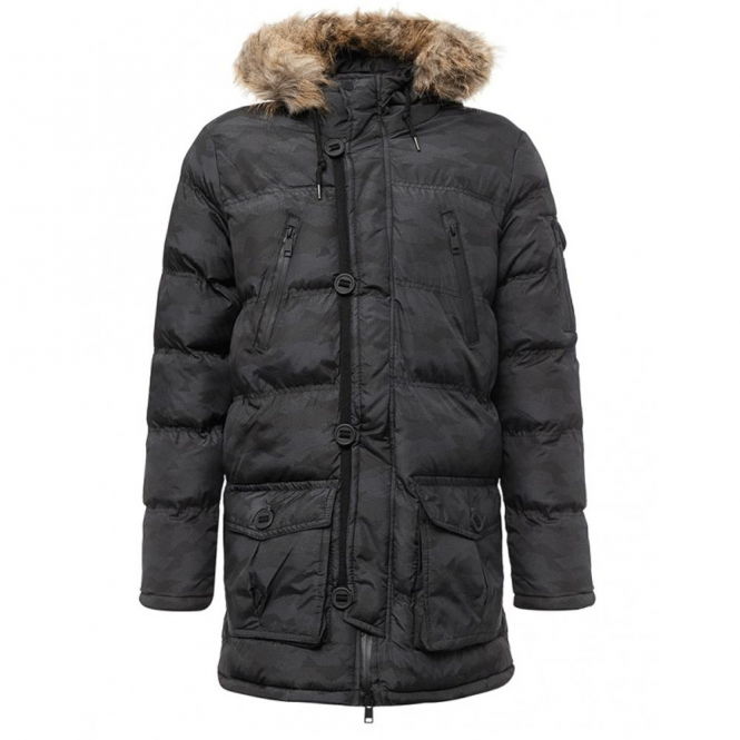 Brave Soul Widness Black Camo Hooded Puffa Parka Coat