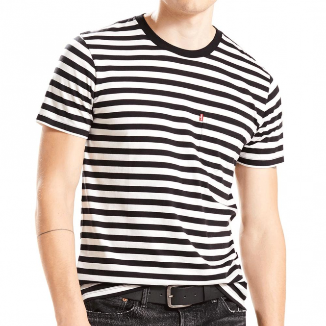 7c25106a22db9f Levi's Levi's Striped Crew Neck T-Shirt Black Off White 29813 0038 ...