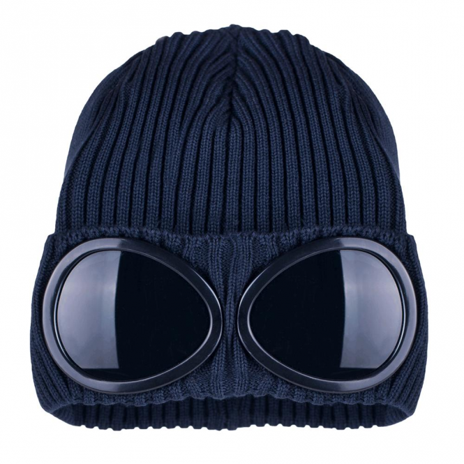 a5e0d9062 C.P. Company CP Company Goggle Beanie Hat With Turn-Up Fold Navy 03CMAC181A