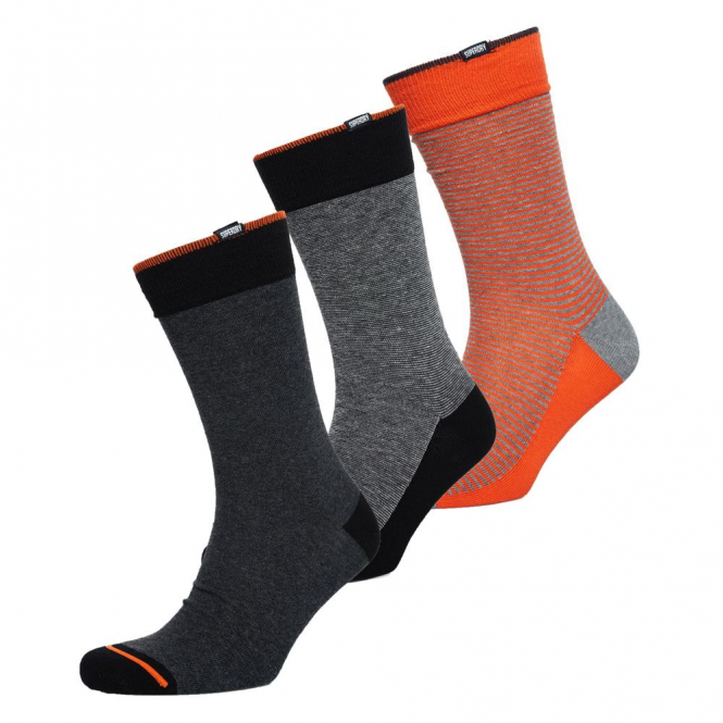 Superdry City Sock 3 Pack FO0 black feeder stripe/grey marl mix/charcoal