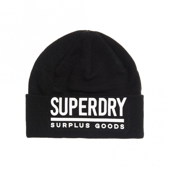 3034a7c86cf89 Superdry Superdry Surplus Goods Logo Beanie Hat Black and White 59A