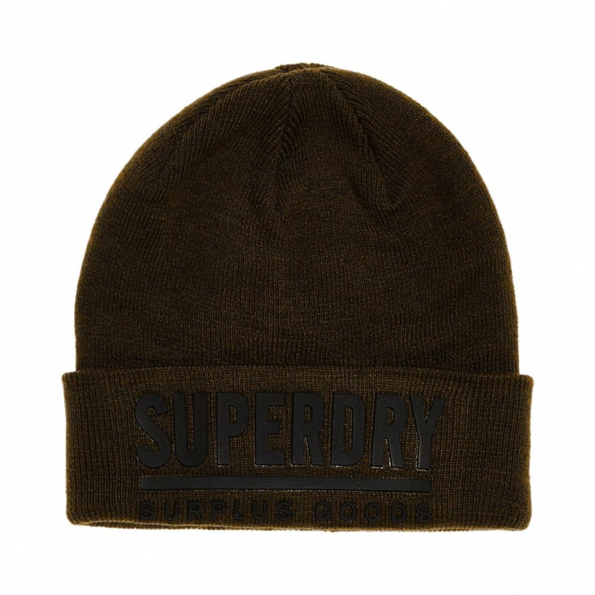 Superdry Surplus Goods Logo Beanie Hat Dark Khaki and Black HT5