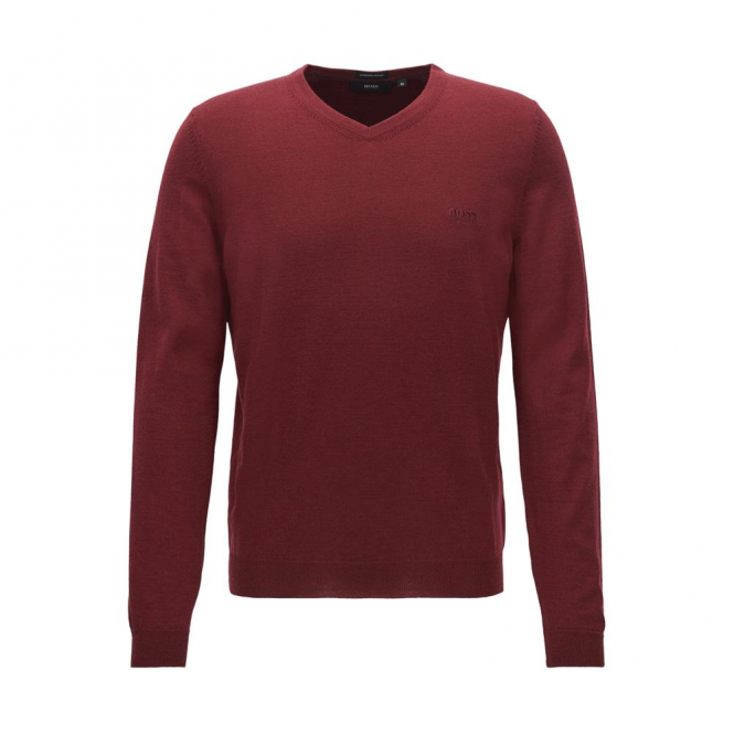 Hugo Boss Baram-L Fine Knit V Neck Jumper Dark Red 611 50373737