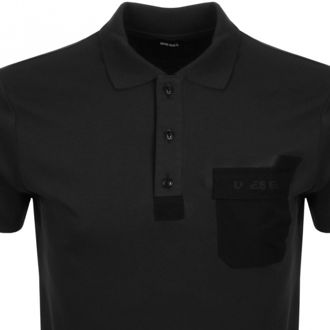 Diesel Diesel T-Temp Jersey Polo T-Shirt With Pocket Black
