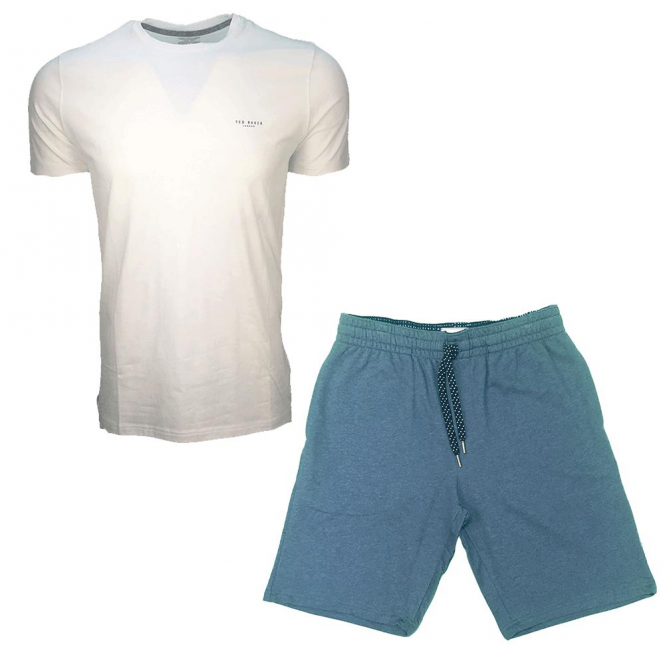 Ted Baker Pleco Jersey Lounge White T-Shirt & Blue Shorts Set
