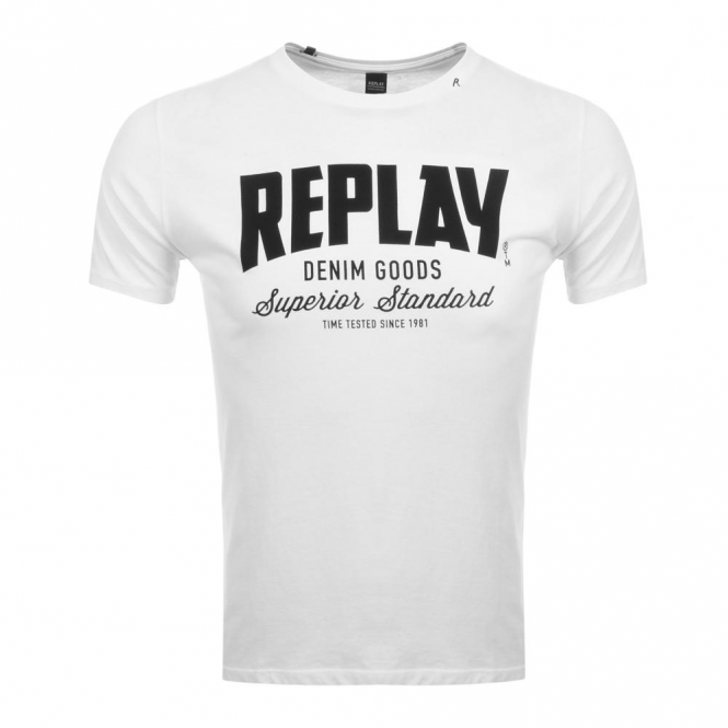 a8ca7288 Replay Replay Logo Crew Neck T-Shirt White M3481 - Replay from Club ...