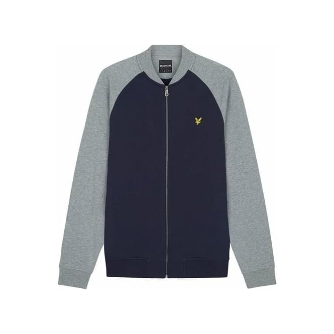 Lyle & Scott Navy Raglan Zip Up Bomber Sweatshirt ML807V
