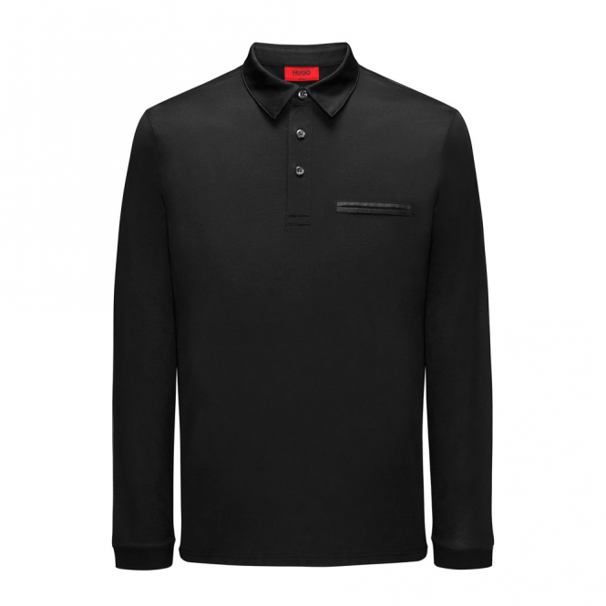 24d04a9f1c0 HUGO HUGO Boss Dwoon Black Mercerised Long Sleeved Polo 50384974 ...